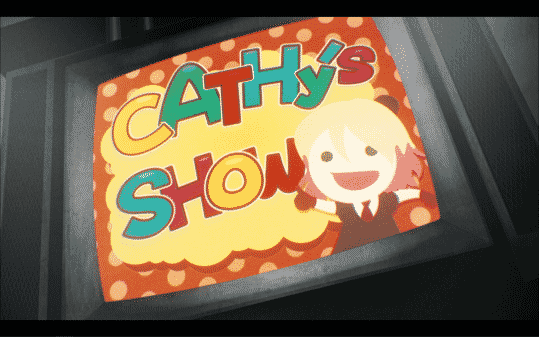 The title card for Cathy's torture show.