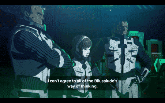 Yuko agreeing with some of the Bilusaludo's way of thinking, but not others.
