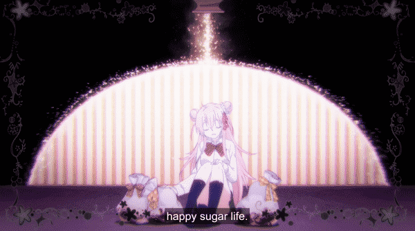 "An image of Satou with the caption ""Happy Sugar Life"" as she sits next to what might be the remains of Shio's family."
