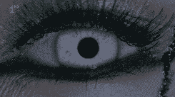 Mia's eye as she lays dying.