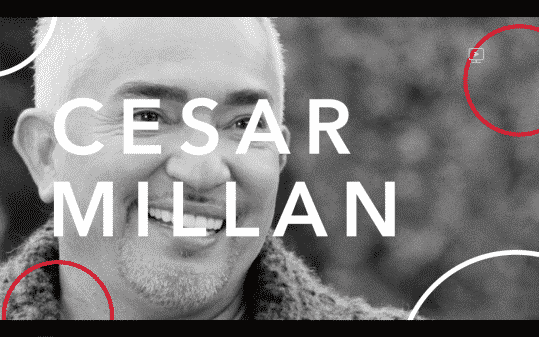 Cesar Millan's name in the Red Table Talk style.