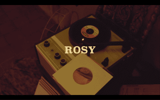 Title card for the movie Rosy.