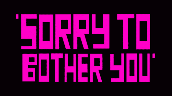 Sorry To Bother You - Title Card in purple.