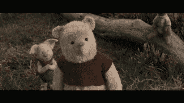 Piglet standing next to Pooh.
