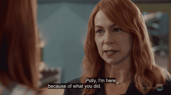 Lillian, a ghost, saying she is here because of what Polly did.