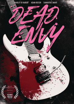 Movie poster for Dead Envy featuring a guitar with blood on it.