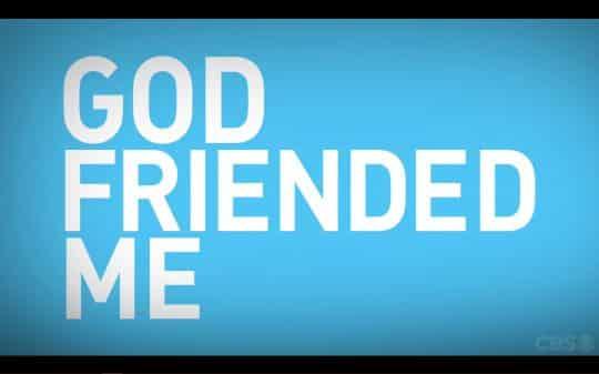 Blue title card for God Friended Me.