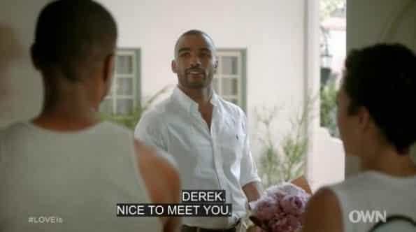 Derek (Toby Sandeman) introducing himself.