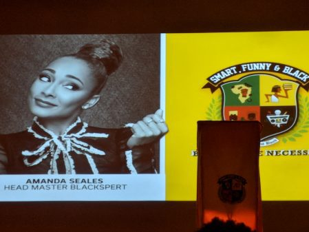An image of Head Master Blackspert Amanda Seales and the Smart, Funny & Black logo.