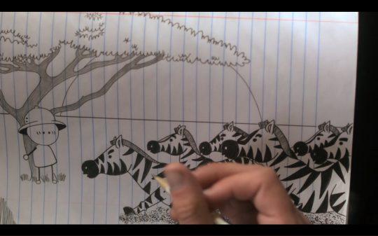 A cartoon Sam drew about being a prey.