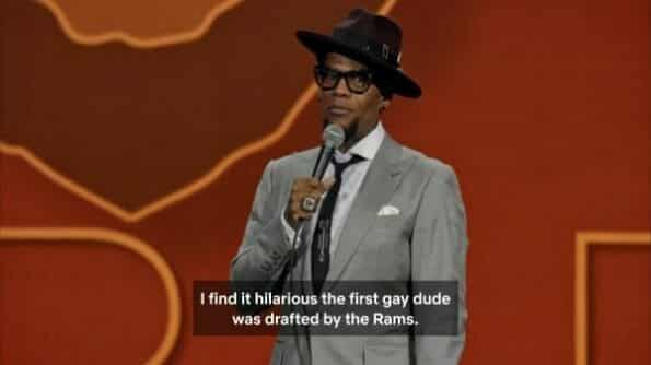Hughley making a Michael Sam joke.