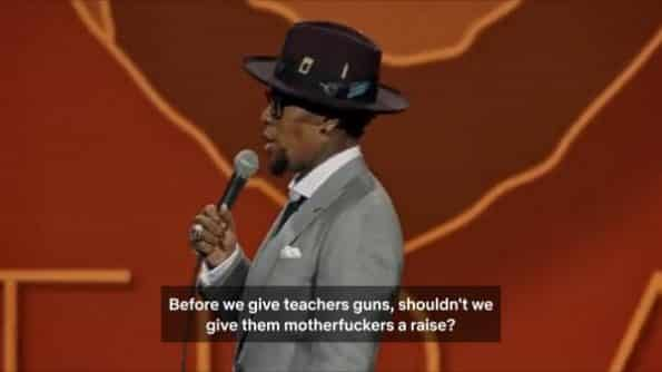 Hughley talking about the idea of giving teachers guns.