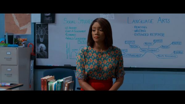 Tiffany Haddish as Carrie, berating Teddy for trying to miss the GED test.