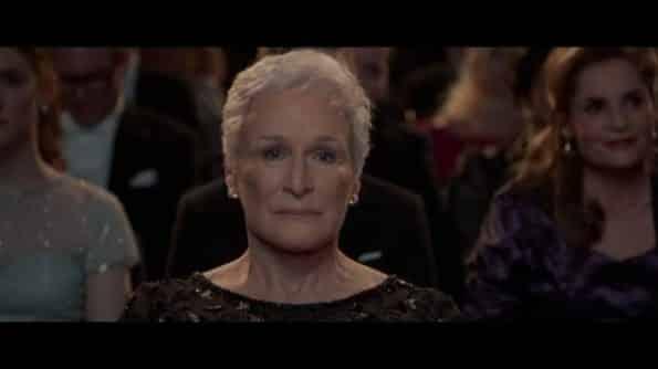 Glenn Close as Joan, watching Joseph win the Noble prize.