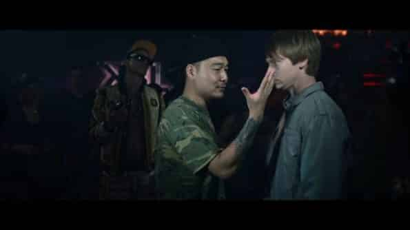 Prospek (Jonathan Park) and Adam (Calum Worthy) during a rap battle.