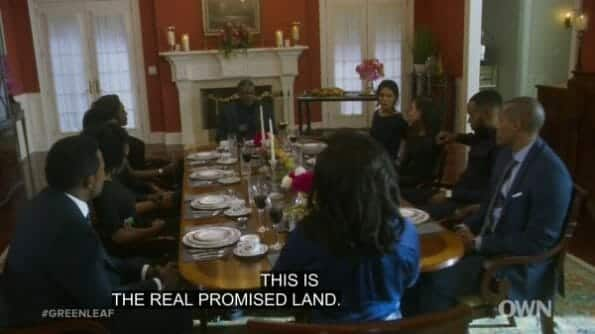 The whole Greenleaf clan eating together like old times.