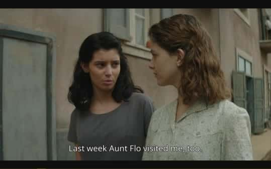 Lila (Gaia Girace) and Elena (Margherita Mazzucco) talking about getting their period.
