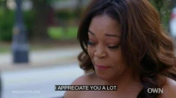 Shanta thanking Alexx for being honest with her and being a good guy.