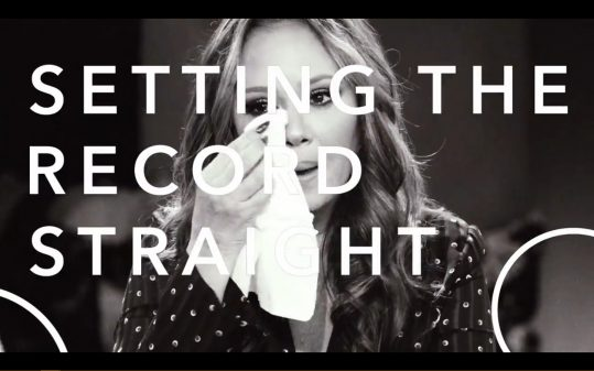 Leah Remini dabbing her eye and the episode titles imposed over her.