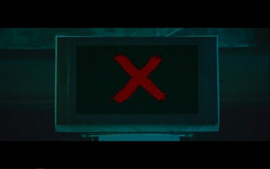 A red X on a TV screen.