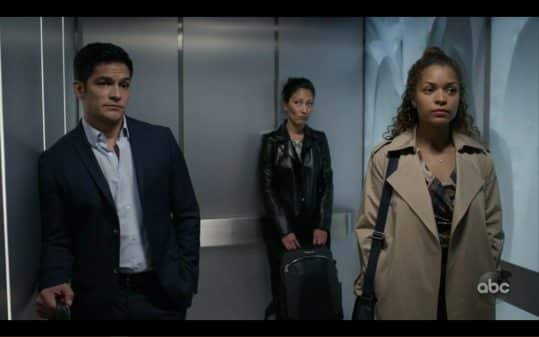 Dr. Melendez, Dr. Lim, and Claire awkwardly standing in a elevator.