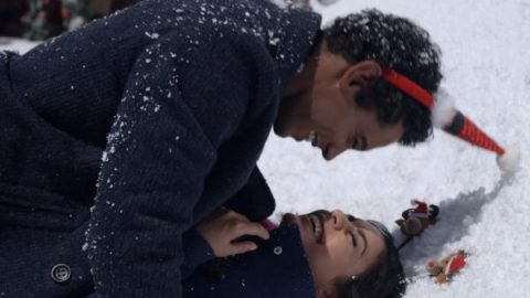 Kevin (Nick Sagar) and Margaret (Vanessa Hudgens) playing in the snow.