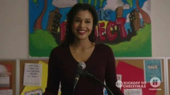 Jillian (Kali Hawk) announcing her candidacy to become a council woman.
