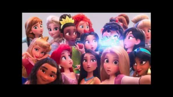 Vanellope with all the Disney princesses.