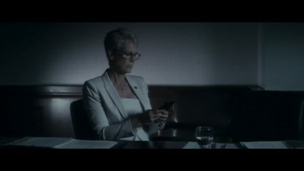 Rachel (Jamie Lee Curtis) having a bit of a Hillary Clinton moment after something major happens in the movie.