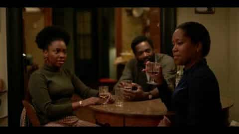 Ernestine (Teyonah Parris), Joseph (Colman Domingo) and Sharon (Regina King) celebrating Tish having a baby.