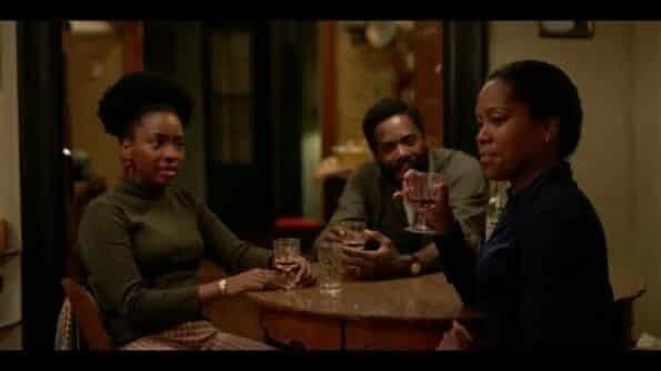 Ernestine (Teyonah Parris), Joseph (Colman Domingo) and Sharon (Regina King) celebrating Tish having a baby.