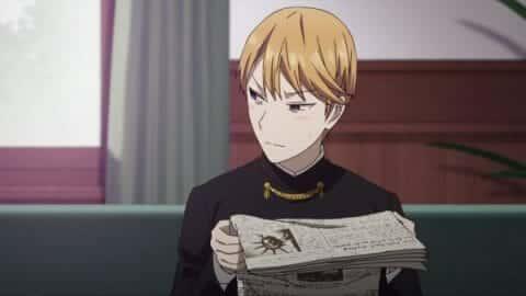 Miyuki (Makoto Furukawa) reading the newspaper.