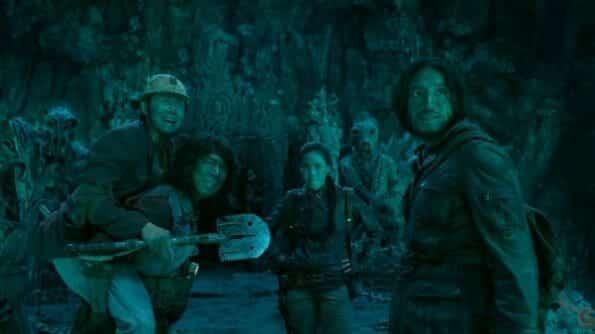Yu Xia, Bo Huang, Qi Shu, Kun Chen in one the film's tombs.