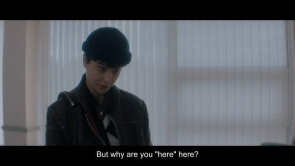 Katherine (Katherine Waterston) asking why her mother is visiting and now in the hospital?