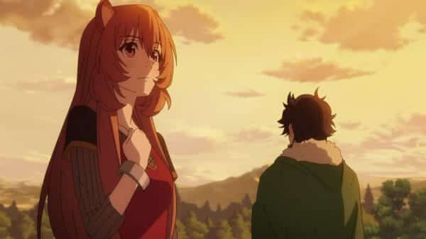 Raphtalia and Naofumi after surviving a demon wave.