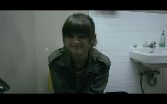 Del crying in the bathroom.