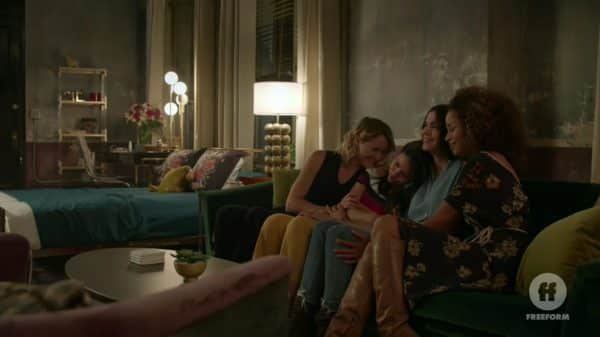 Stef and Lena cuddling with Mariana and Callie.