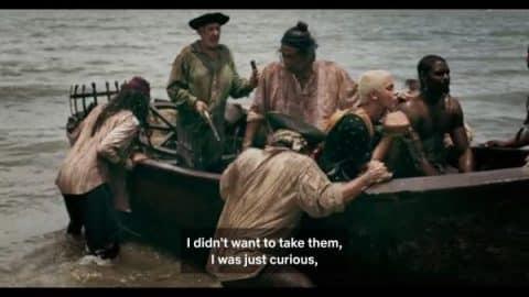 Johnny being taken away by pirates.