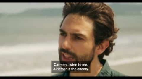 Esteban (Lucien) trying to convince Carmen that Aldemar is evil.