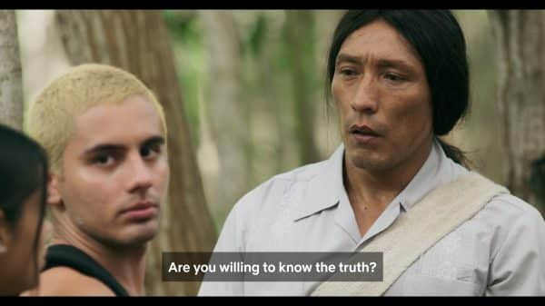 Kankawimaku (Nelson Camayo) talking to Johnny and Mayte asking if they are willing to know the truth.