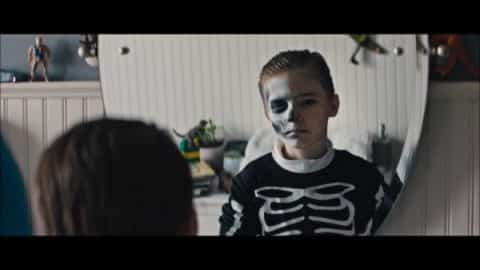 Miles (Jackson Robert Scott) in Halloween makeup.