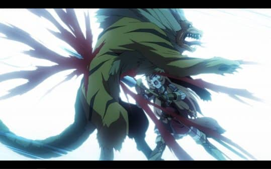 Raphtalia killing a monster.