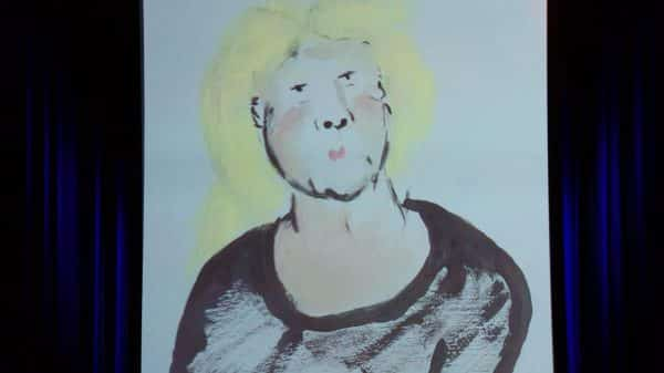 A painting that Amy's husband drew that looks like Trump to her.