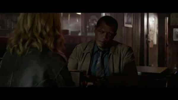 Nick Fury (Samuel L. Jackson) having a conversation with Captain Marvel.
