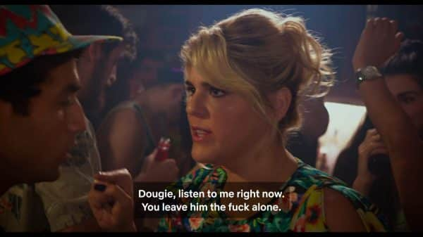 Maggie (Molly Tarlov) speaking to Dougie Ashton Moio) about leaving Jason and Claire alone.