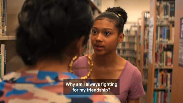 Monse talking to Jasmine and realizing she has outgrown her friends.