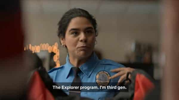Jasmine revealing she is a third generation cop.