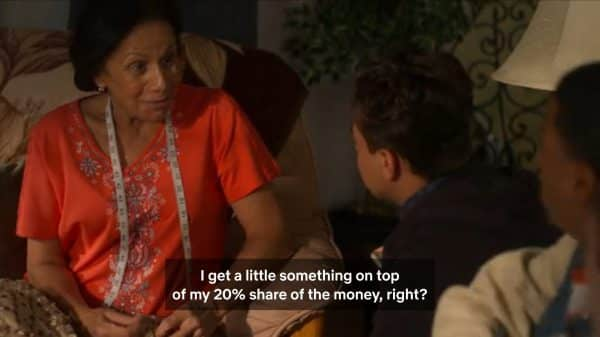 Abuelita realizing she isn't getting a 20% cut of the Rollerworld money.