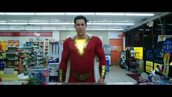 Shazam (Zachary Levi) trying to buy beer.