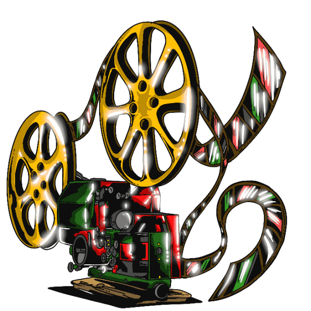 An old school film reel drawn by artist Dean Nelson.